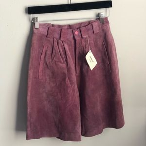 Vintage Suede Purple Tailored Mom Shorts